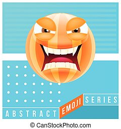 Abstract Cute Angry Emoji with Big Eyes and Open Mouth with...