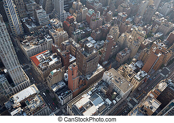 New York City Manhattan aerial view with skyscrapers background