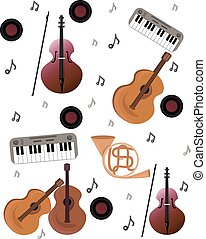 Music pattern Vector background. Earphones sign melody pattern. Teenage rock background textures, musical hand drawn doodle style. Guitar with wings, stereo, record. Studio sound