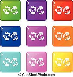 Cycling gloves icons 9 set - Cycling gloves icons of 9 color...