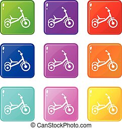 Tricycle icons 9 set - Tricycle icons of 9 color set...
