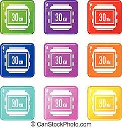 Speedometer bike icons 9 set - Speedometer bike icons of 9...