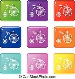 Penny-farthing icons 9 set - Penny-farthing icons of 9 color...
