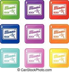 Miami beach icons 9 set - Miami beach icons of 9 color set...