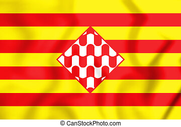 Flag_of_Girona_province_(unofficial) - 3D Flag of Girona...
