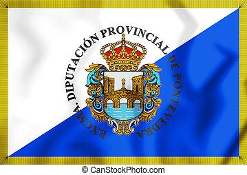 3D Flag of Pontevedra Province, Spain. 3D Illustration.