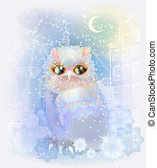 Fairytale owl in the snowy city. Christmas and New Year...