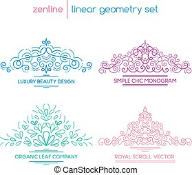 Vector linear abstract emblems - Vector linear abstract...