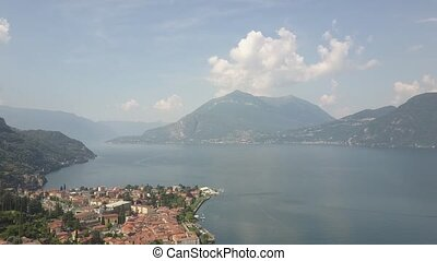 LAKE COMO, ITALY from the drone and the Italian Alps in background