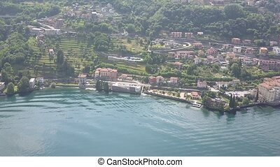 LAKE COMO, ITALY from the drone and the Italian Alps in...