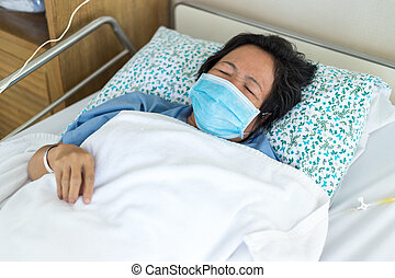 Patient fall asleep - Female patient fall asleep in hospital...