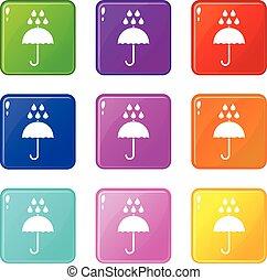Umbrella and rain drops icons 9 set - Umbrella and rain...