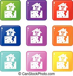 House after an earthquake icons 9 set - House after an...