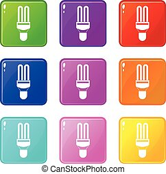 Fluorescence lamp icons 9 set - Fluorescence lamp icons of 9...