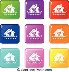 House sinking in a water icons 9 set