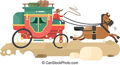 Stagecoach design flat. Transport wagon with horse,...