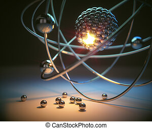 Atomic Energy Power - 3D illustration. Concept image of a...