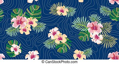 Brazilian rain forest. Seamless vector pattern with palm...
