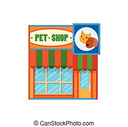 Pet shop front view flat icon, vector illustration....