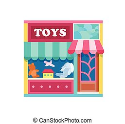 Toy shop front view flat icon, vector illustration. In the...
