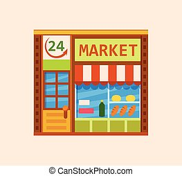 Convenience store front view flat icon, vector illustration....