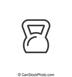 Kettlebell line icon isolated on white. Vector illustration