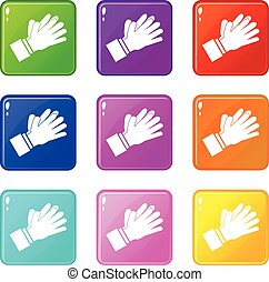 Clapping applauding hands icons 9 set - Clapping applauding...