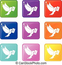 Dove carrying envelope icons 9 set - Dove carrying envelope...