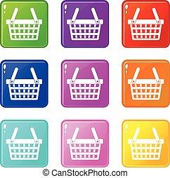 Shopping basket icons 9 set - Shopping basket icons of 9...