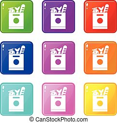 Grocery bag with food icons 9 set - Grocery bag with food...