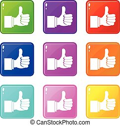 Thumb up gesture icons 9 set - Thumb up gesture icons of 9...