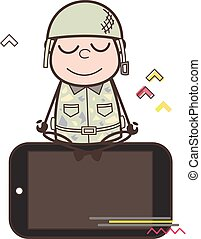 Cartoon Army Man Concentrating Over the Mobile Vector...