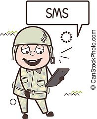 Cartoon Army Man Laughing After Reading Sms Vector...