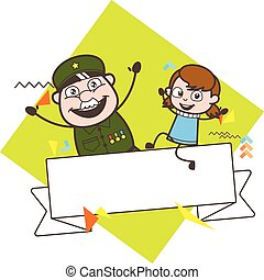 Old Army Man with Little Girl and Message Banner Vector Illustration