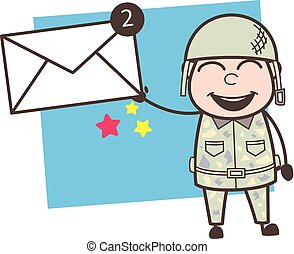 Cartoon Army Man Showing Messages Vector Illustration