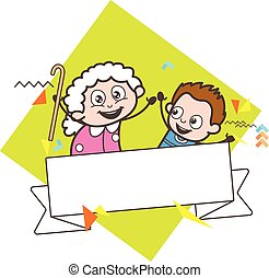 Cartoon Granny with Kid Boy and Message Banner Vector Illustration