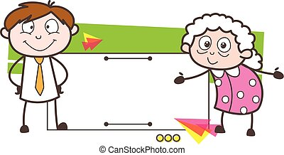 Cartoon Granny and Young Boy with Ad Banner Vector Illustration