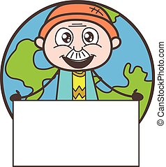 Cartoon Grandpa with Blank Banner Isolated on Earth...