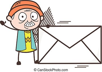 Cartoon Grandpa with Envelope Vector Illustration
