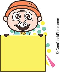 Excited Cartoon Grandpa with Ad Banner Vector Illustration