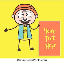 Cartoon Grandpa with Ad Banner Vector Illustration