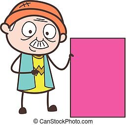 Cartoon Grandpa Showing a Blank Pink Banner Vector...