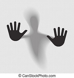Shadowy figure behind glass translucent isolated. Vector...