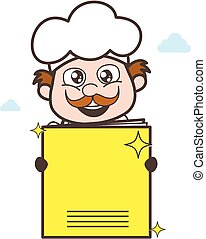 Cartoon Chef Showing a Notebook Vector Illustration
