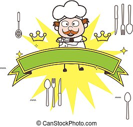 Cartoon Chef with Ribbon Banner Vector Illustration