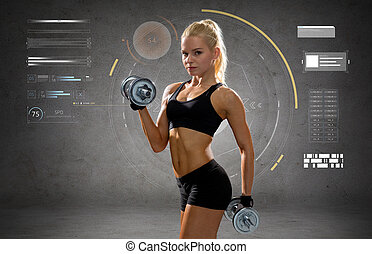 happy young sporty woman exercising with dumbbells -...