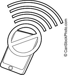 Gadget no wi-fi icon, outline style