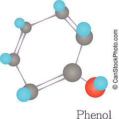 Phenol 3D molecule chemical science, cartoon style - Phenol...