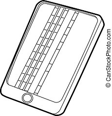 Gadget matrix screen deffect icon, outline style
