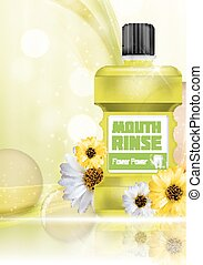 Mouth Rinse Design Cosmetics Product Bottle with Flowers...